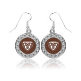 Crystal Studded Round Pendant Silver Dangle Earrings-Bonnies Shield