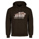 Brown Fleece Hoodie-Swimming