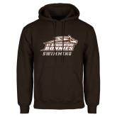 Brown Fleece Hoodie-Swimming
