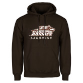 Brown Fleece Hoodie-Lacrosse