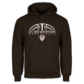 Brown Fleece Hoodie-St. Bonaventure Basketball Half Ball