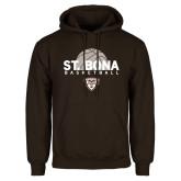 Brown Fleece Hoodie-St. Bona Basketball Half Ball