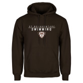 Brown Fleece Hoodie-St. Bonaventure Swimming Stacked