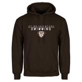 Brown Fleece Hoodie-St. Bonaventure Swimming Stacked