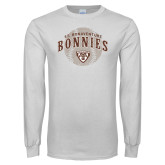 White Long Sleeve T Shirt-Bonnies Baseball Arched w/ Ball