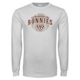 White Long Sleeve T Shirt-Bonnies Baseball Arched w/ Ball