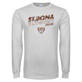 White Long Sleeve T Shirt-Bonnies Soccer Texture