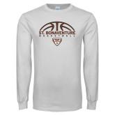 White Long Sleeve T Shirt-St. Bonaventure Basketball Half Ball