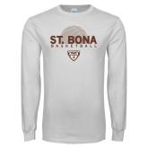 White Long Sleeve T Shirt-St. Bona Basketball Half Ball