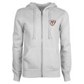 ENZA Ladies White Fleece Full Zip Hoodie-Bonnies Shield