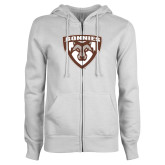 ENZA Ladies White Fleece Full Zip Hoodie-Bonnies Shield