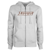 ENZA Ladies White Fleece Full Zip Hoodie-St. Bonaventure Bonnies