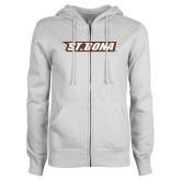 ENZA Ladies White Fleece Full Zip Hoodie-St. Bona