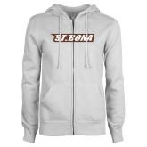 ENZA Ladies White Fleece Full Zip Hoodie-St. Bona