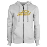 ENZA Ladies White Fleece Full Zip Hoodie-Official Logo Foil