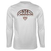 Performance White Longsleeve Shirt-St. Bonaventure Basketball Half Ball