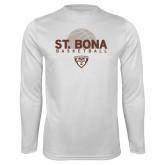 Performance White Longsleeve Shirt-St. Bona Basketball Half Ball