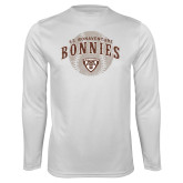 Performance White Longsleeve Shirt-Bonnies Baseball Arched w/ Ball