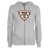 ENZA Ladies Grey Fleece Full Zip Hoodie-Bonnies Shield