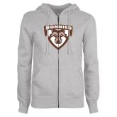 ENZA Ladies Grey Fleece Full Zip Hoodie-Bonnies Shield