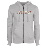ENZA Ladies Grey Fleece Full Zip Hoodie-St. Bonaventure Bonnies