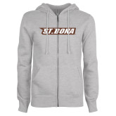 ENZA Ladies Grey Fleece Full Zip Hoodie-St. Bona