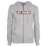 ENZA Ladies Grey Fleece Full Zip Hoodie-St. Bona