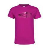 Youth Fuchsia T Shirt-Official Logo Foil