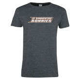 Ladies Dark Heather T Shirt-St. Bonaventure Bonnies