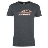 Ladies Dark Heather T Shirt-Official Logo Distressed