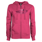 ENZA Ladies Fuchsia Fleece Full Zip Hoodie-Official Logo Foil