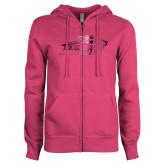 ENZA Ladies Fuchsia Fleece Full Zip Hoodie-Official Logo Foil