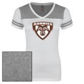 Ladies White/Heathered Nickel Juniors Varsity V Neck Tee-Bonnies Shield