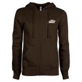 ENZA Ladies Brown Fleece Full Zip Hoodie-Official Logo