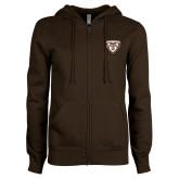 ENZA Ladies Brown Fleece Full Zip Hoodie-Bonnies Shield