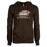ENZA Ladies Brown Fleece Full Zip Hoodie-Womens Basketball