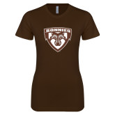 Next Level Ladies SoftStyle Junior Fitted Dark Chocolate Tee-Bonnies Shield