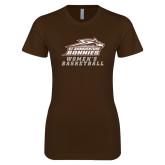 Next Level Ladies SoftStyle Junior Fitted Dark Chocolate Tee-Womens Basketball