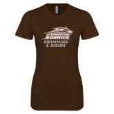 Next Level Ladies SoftStyle Junior Fitted Dark Chocolate Tee-Swimming & Diving