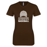 Next Level Ladies SoftStyle Junior Fitted Dark Chocolate Tee-Bonnies Baseball w/ Hat