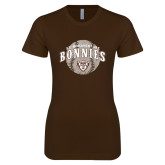 Next Level Ladies SoftStyle Junior Fitted Dark Chocolate Tee-Bonnies Baseball Arched w/ Ball