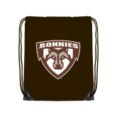 Brown Drawstring Backpack-Bonnies Shield