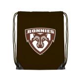 Brown Drawstring Backpack-Bonnies Shield