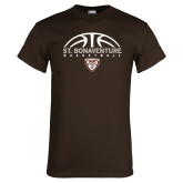 Brown T Shirt-St. Bonaventure Basketball Half Ball
