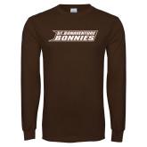 Brown Long Sleeve TShirt-St. Bonaventure Bonnies