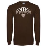 Brown Long Sleeve TShirt-St. Bonaventure Basketball Half Ball
