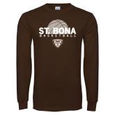 Brown Long Sleeve TShirt-St. Bona Basketball Half Ball