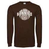 Brown Long Sleeve TShirt-Bonnies Baseball Arched w/ Ball