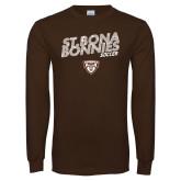 Brown Long Sleeve TShirt-Bonnies Soccer Texture