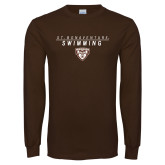Brown Long Sleeve TShirt-St. Bonaventure Swimming Stacked